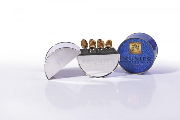 Robbe & Berking - Silberne Prunier Caviar Dose mit 6 Kaviarlöffel